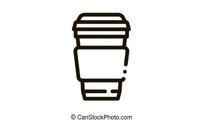 Coffee Tea Drink Cup Package Packaging animated black icon on white background
