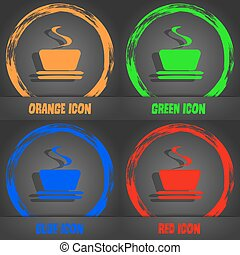 coffee, tea icon. Fashionable modern style. In the orange, green, blue, red design. Vector