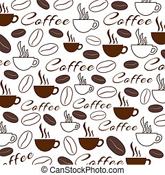 Coffee Texture - Background pattern with various coffee...