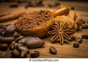 Coffee theme still-life on wooden table - Coffee theme...