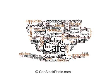 Coffee Theme Word Cloud containing coffee types and other...