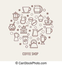 Coffee thin line vector icons set in a circle