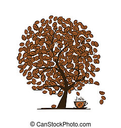 Coffee time. Art tree for your design