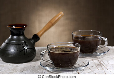 Coffee time, cuisine still life on the desk