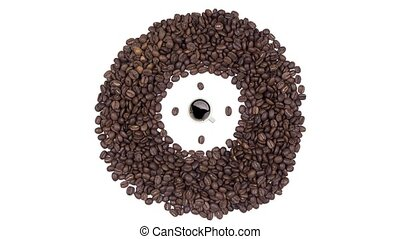 Coffee Time - Cup of black coffee with foam and clock of coffee beans,seamless loop animation isolated on a white background. View from above