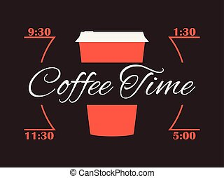 Coffee time. Cup of coffee. Infographics poster. Vector illustration