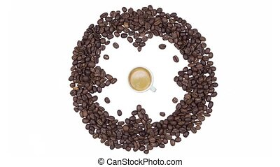 Coffee Time - Cup of coffee with foam and clock of coffee beans,seamless loop animation isolated on a white background. View from above