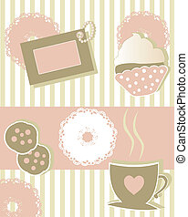 coffee time - cute collection of cups and cookies for coffee...