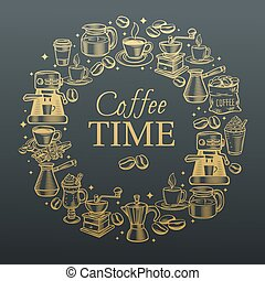 Hand drawn coffee icon set