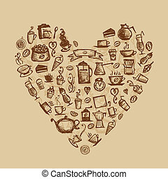 Coffee time, heart shape for your design