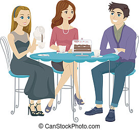 Coffee Time - Illustration of Teens Having Coffee Together