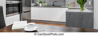 Coffee time in modern kitchen