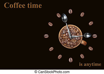 """Coffee time is anytime 2 - Clock with coffee beans. """" Coffee..."""