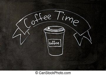 Coffee time lettering chalk on black school board background.