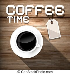 Coffee Time on Wooden Background Vector Illustration