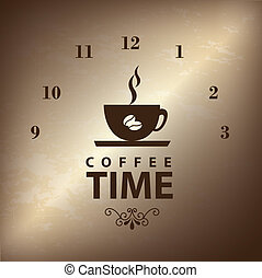 coffee time over broze backgrround vector illustration