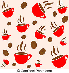 Coffee time, red cup and bean seamless vector wallpaper, background