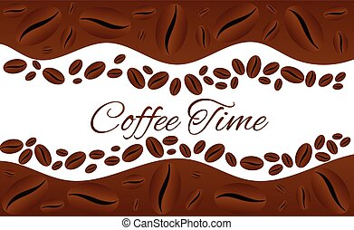 Coffee Time Square Border Frame Isolated on White