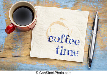 coffee time text on napkin