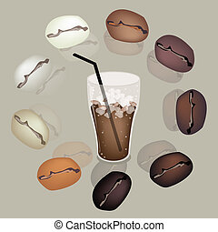 Coffee Beans Around A Glass of Iced Coffee