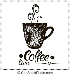Coffee time. Vintage Stylized Lettering.