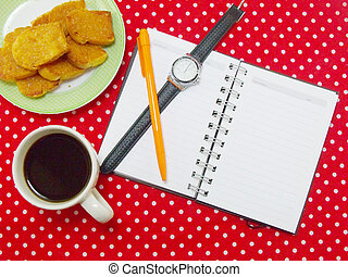 coffee time with garlic bread on red polka dot fabric