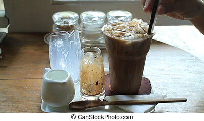 Coffee Time With Ice Mocha, Stock Video