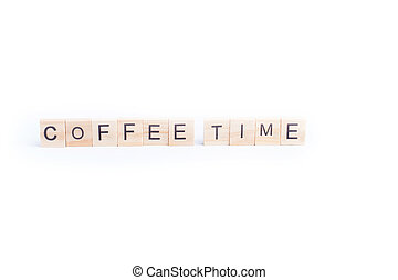 COFFEE TIME word on square tile concept isolated on white background