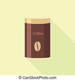 Coffee tin can icon, flat style