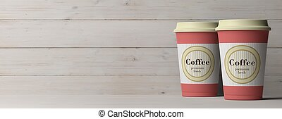5e23349f8b7 Coffee cups 2, with a lid, isolated on wooden background, copy space,