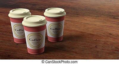 cc12cf6f13f Coffee cups 3, with a lid, isolated on wooden background, copy space,