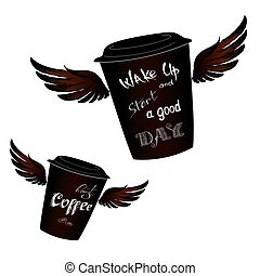 Coffee to go with wings, Wake up - lettering, isolated on...