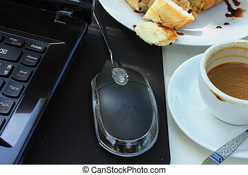Coffee, toast with a notebook