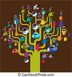 Coffee tree - A coffee tree made with a variety of assorted...