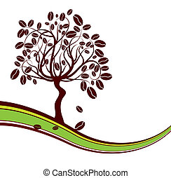 Coffee tree background, vector