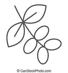 Coffee tree branch thin line icon, coffee and cafe, nature sign vector graphics, a linear pattern on a white background, eps 10.