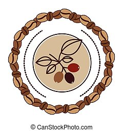 coffee tree branch with leaves with beans coffee border