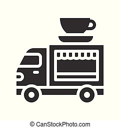 Coffee truck vector, Food truck solid style icon