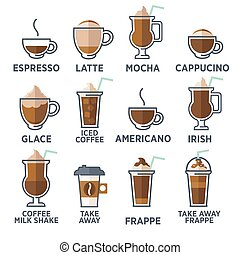 Coffee types or kinds set. Vector