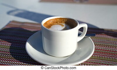 Coffee - Typical Spanish Cortado in espresso cup at out at ...