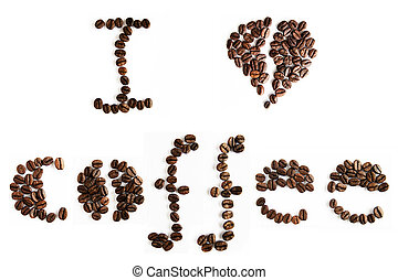 Coffee typography - Coffee text made with roasted coffee...