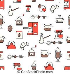 Coffee vector flat line art decorative seamless pattern