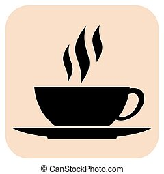Coffee vector icons - Coffee cups vector icons on a beige ...