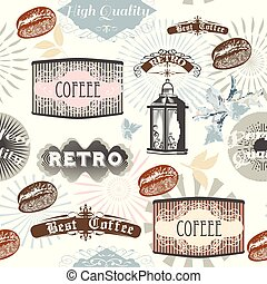 Coffee vector pattern with labels and grains, sunburst for design