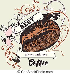 Coffee vector poster with flourish, coffee grain and ribbon in retro style.eps