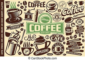 Coffee vector set of icons, logos, emblems, symbols and design elements