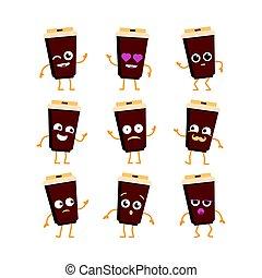 Coffee - vector set of mascot illustrations.