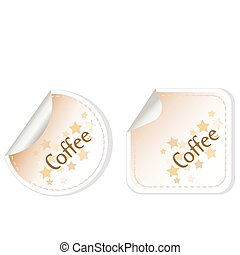 Coffee vector stickers label brown