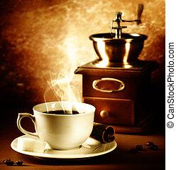 coffee., vendimia, styled., toned sepia