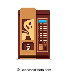 Coffee vending machine with cup isolated on white. Brown vendor machine front view automatic seller. Coffee dispenser flat vector illustration